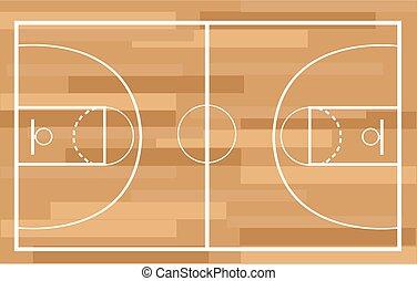イラスト, ベクトル, 法廷, バスケットボール
