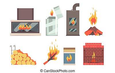 イラスト, ベクトル, 種類, 別, 暖炉, 平ら, セット