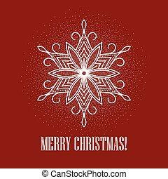 イラスト, ベクトル, 背景, snowflake., クリスマス, 赤
