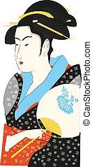 イラスト, ベクトル, 芸者, 日本語, 伝統的である