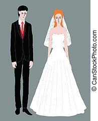 イラスト, ベクトル, 若い, 新婚者, 朗らかである