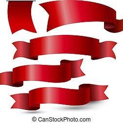 イラスト, ベクトル, 赤い背景, 白いリボン