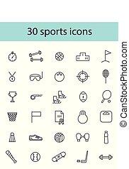 イラスト, ベクトル, icons., 黒, スポーツ, セット