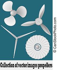 イラスト, ベクトル, propellers., コレクション