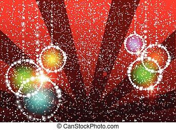 イラスト, ボール, クリスマス, 背景