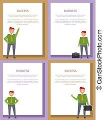 イラスト, ポスター, ベクトル, ビジネス, 成功