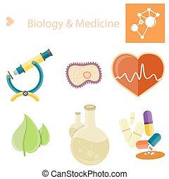 イラスト, ポスター, 生物学, セット, medecine