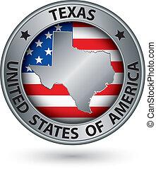 イラスト, ラベル, 州, ベクトル, 地図, 銀, テキサス