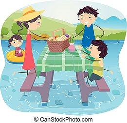 イラスト, 上に, 家族, stickman, 水, ピクニック