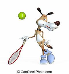 イラスト, 上に, a, 主題, a, 犬, ∥, テニス, player.