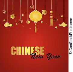 イラスト, 中国語, ベクトル, 年, 新しい, デザイン
