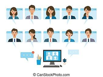 イラスト, 事実上, コミュニケーション, 持つこと, テレコミューティング, 微笑, frames., 窓, ベクトル, system., を経て, 人々