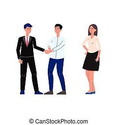 イラスト, 人々, サービス, 平ら, ベクトル, notary, 法的, 漫画, isolated.