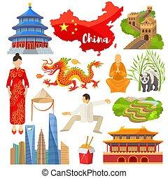 イラスト, 伝統的である, 偉人, セット, 中国語, 壁, アジア, ドラゴン, シンボル, 文化, 旗, ベクトル, 陶磁器, アジア人, 背景, 白いドレス, パンダ