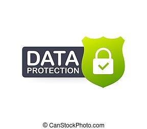 イラスト, 保護, インターネット, 印, データ, プライバシー, ベクトル, security., 株