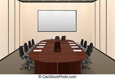 イラスト, 内部, 部屋, 会議