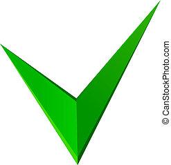 イラスト, 印, ベクトル, 緑, 点検, design.