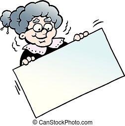 イラスト, 印, 祖母, ベクトル, 保有物, 漫画, 幸せ