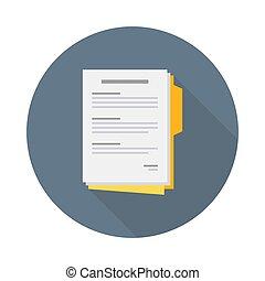 イラスト, 合意, ベクトル, アイコン, 文書, 平ら, ビジネス, レポート, 契約, ペーパー