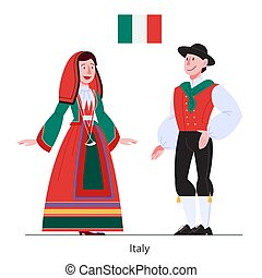 イラスト, 国民, イタリア, flag., 市民, 衣装, ベクトル