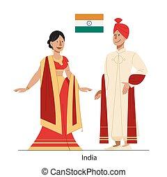 イラスト, 国民, flag., インド, 市民, 衣装, ベクトル