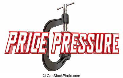 イラスト, 圧力, クランプ, コスト, 3d, 単語, 窮地, 万力, 縮小, 価格