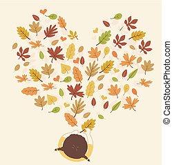 イラスト, 女の子, 中心の 形, 葉, 子供, 秋