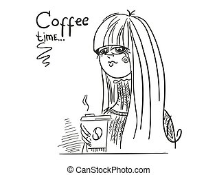 イラスト, 女, 飲みなさい, テキスト, ベクトル, 座りなさい, 白, beautifull, コーヒー, ドロー, tiime., 手, 隔離された, 若い