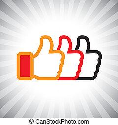 イラスト, 媒体, 概念, のように, の上, graphic-, set., 社会, 3, icons(symbol), 手, オレンジ, 色, ベクトル, 黒, 親指, サイン, 赤, ショー