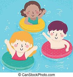 イラスト, 子供, プール, 浮く物