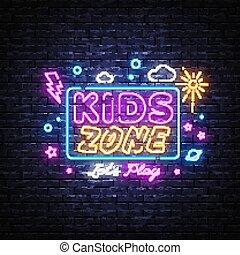 イラスト, 子供, 夜, 場所, 地域, 明るい, プレーしなさい, 広告, template., 旗, 旗, ネオン, 印。, ライト, 楽しみ, デザイン, ベクトル, 要素