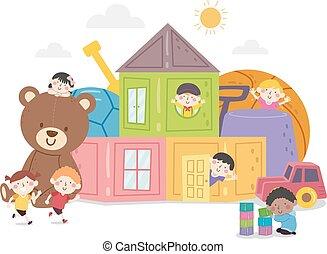 イラスト, 子供, 楽しみ, おもちゃ, 家