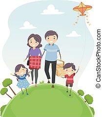イラスト, 家族, stickman, 歩きなさい, ピクニック