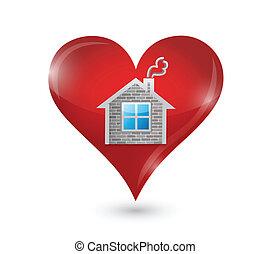 イラスト, 家, デザイン, あなたの, 愛