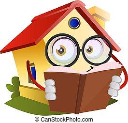 イラスト, 家, 本, バックグラウンド。, ベクトル, 白, 読書