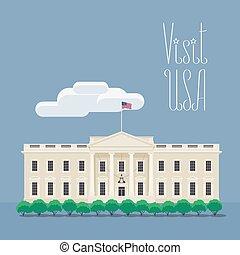イラスト, 家, 訪問, イメージ, アメリカ, ワシントン, ベクトル, ポスター, 白
