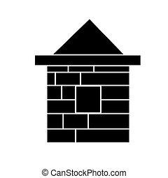 イラスト, 家, 隔離された, 印, ベクトル, 黒い背景, アイコン, れんが