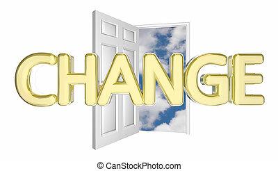 イラスト, 展開させなさい, ドア, 開始, 革新しなさい, 合わせなさい, 混乱させなさい, 変化しなさい, 3d