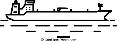 イラスト, 平ら, タンカー, 線である, オイル
