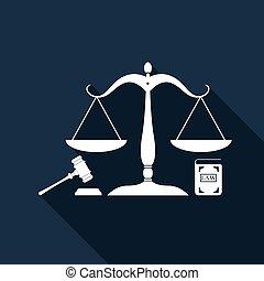 イラスト, 平ら, law., 概念, アイコン, スケール, オークション, 正義, シンボル, justice., 隔離された, 法的, シンボル。, 本, ベクトル, 長い間, 小槌, 法律, shadow., design.