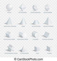 イラスト, 形, ベクトル, 名前, 幾何学的, 3d