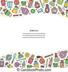 イラスト, 必要, 場所, perfumes., oils., びん, ビーカー, 香水, ベクトル, text., 準備