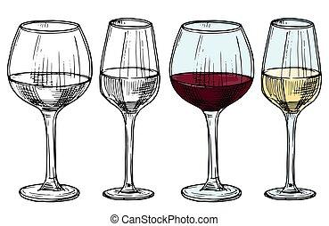 イラスト, 手, ベクトル, 引かれる, 白, ガラス, 赤ワイン
