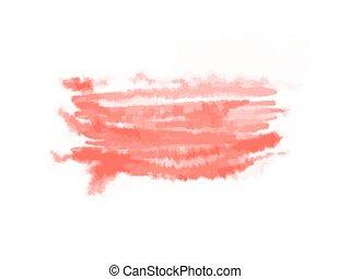 イラスト, 抽象的, 隔離された, 水彩画, ベクトル, white., spot., 赤