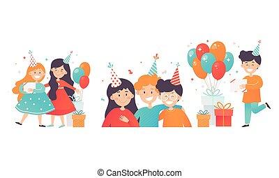 イラスト, 持つこと, セット, 子供, 誕生日パーティー, 楽しみ, ベクトル