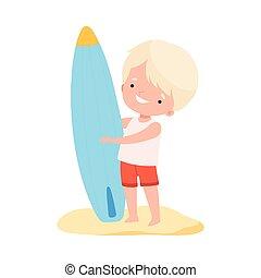 イラスト, 持つこと, 愛らしい, ホリデー, 漫画, 子供, 砂, かわいい, 子供, 活動, ベクトル, 夏, 水着, 楽しみ, 浜, サーフボード, 男の子, 地位