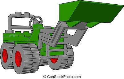 イラスト, 掘削機, バックグラウンド。, ベクトル, 緑の白
