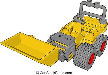 イラスト, 掘削機, 黄色, バックグラウンド。, ベクトル, 白