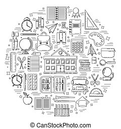 イラスト, 教育, 網, concept., デザイン, 学校, カード