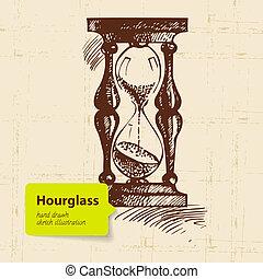 イラスト, 時計, hourglass., 型, 手, 引かれる